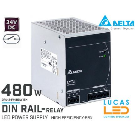 DIN Rail Power Supply • 24V DC • 480 watts • 20A • LED Driver • Pro Line • DELTA LYTE II • High Power Density • with Relay •