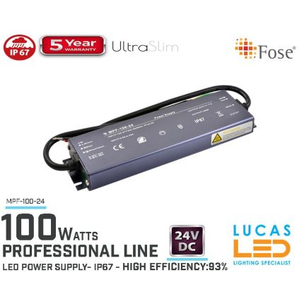 LED Driver Power Supply • 24V • 100 watts • IP67 • Waterproof • Metal case • 5 year • PRO Line • Active Filter •