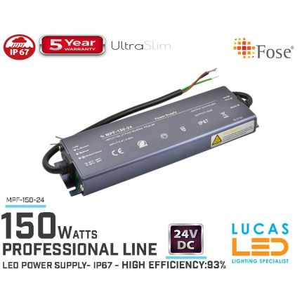 LED Driver Power Supply • 24V • 150 watts • IP67 • Waterproof • Metal case • 5 year • PRO Line • Active Filter •