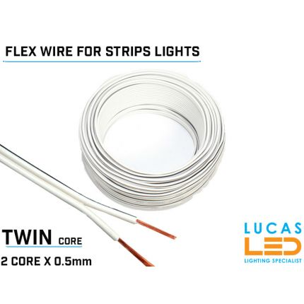 Single Color LED Power cable, flexible for Led Strips - 2 core x 0.5mm - 20 AWG - 80° - 300V - VW-1 - 100m/reel - Price per 1 meter