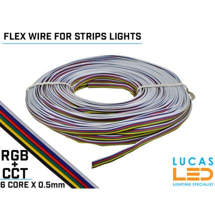 RGB+CCT LED Power cable, flexible for Led Strips - 6 core x 0.5mm - 20 AWG - 80° - 300V -  VW-1 - 100m/reel - Price per 1 meter