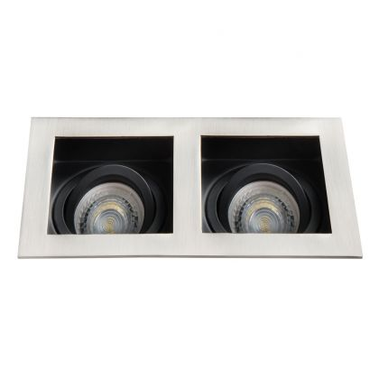 LED Recessed Spotlight - Ceiling fitting - 2xGU10 - IP20 - Vertical adjustment of 20° - ARET Chrom-matt