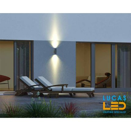 Outdoor LED Wall Light - E27 - IP54 - BART 260 - Large Surface Facade Lamp - Up & Down Light - Grey colour