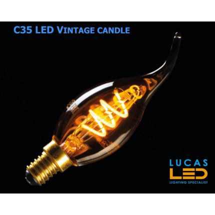 C35 LED Candle Vintage bulb filament light- 2.5W- E14- SW Colour- 1800K- 135lm- viewing angle 320° - New Xled Decorative Version Bulb