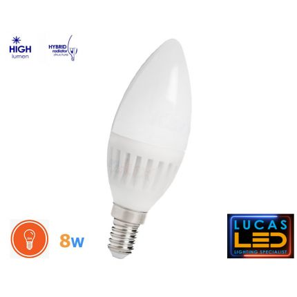 E14 LED Candle bulb light lamp- 8W- 800lm- SMD- beam angle 210°