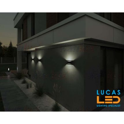 Surface LED Wall Facade Light- 8W- IP54- 375lm- 4000K- Graphite- Outdoor & Indoor lamp- Up & Down- BISO