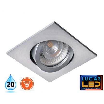 LED Recessed Spotlight - Ceiling fitting - GU10 - IP20 - Vertical adjustment of  30° - EVIT Round - brushed Aluminium