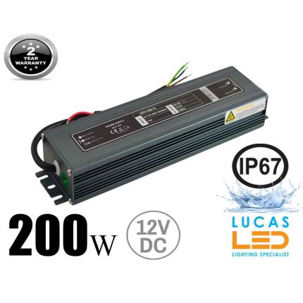 LED Driver Power Supply • 200 watts • 16.7A • DC 12V for LED Strips • IP67 Waterproof •