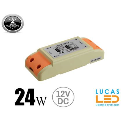 LED Driver  Power Supply 24 watts • 2A • DC 12V for LED Strips • IP40 •