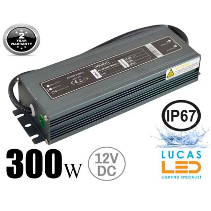 LED Driver Power Supply • 300 watts • 25A • DC 12V for LED Strips • IP67 Waterproof •