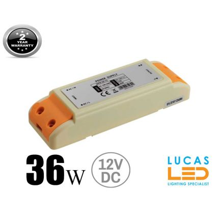 LED Driver  Power Supply 36 watts • 3A • DC 12V for LED Strips • IP40 •