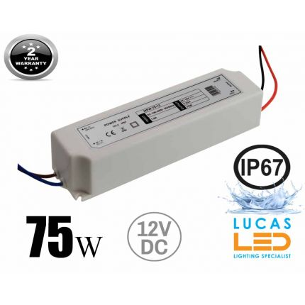 LED Driver Power Supply • 75 watts • 6.25A • DC 12V for LED Strips • IP67 Waterproof •