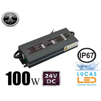 LED Driver Power Supply • 100 watts • 4.17A • DC 24V for LED Strips • IP67 Waterproof •