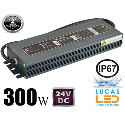 LED Driver Power Supply • 300 watts • 12.5A • DC 24V for LED Strips • IP67 Waterproof •