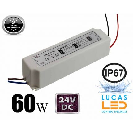 LED Driver Power Supply • 60 watts • 2.5A • DC 24V for LED Strips • IP67 Waterproof •