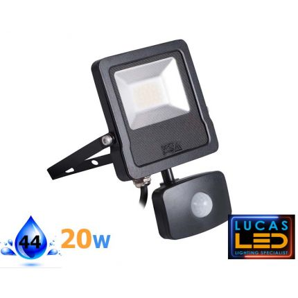 Outdoor LED Floodlight -PIR sensor- 20W- IP65- 4000lm- Natural White- Montion detector- ANTOS- Black