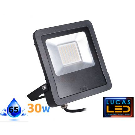 Outdoor LED Floodlight- 30W- IP44- 2400lm- 4000K Natural White- ANTOS- Black