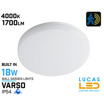 Surface LED Light Panel with PIR Motion Sensor-18W-1700lm-IP54 - Wall & Ceiling Downlight-VARSO