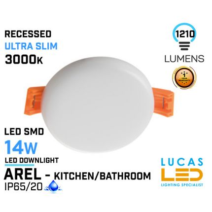 LED Panel Light  14W - 3000K - 1210lm - IP65/20 - RECESSED Downlight - ceiling - full fitting - Bathroom / Kitchen - LED SMD - Ultra Slim - AREL