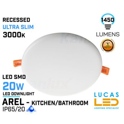 LED Panel Light 20W - 3000K - 1450lm - IP65/20 - RECESSED Downlight - ceiling - full fitting - Bathroom / Kitchen - LED SMD - Ultra Slim - AREL