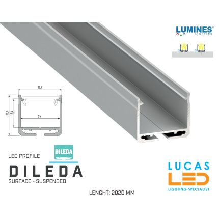 """LED Profile • SURFACE • ARCHITECTURAL • SUSPENDED • """"DILEDA"""" • SILVER • Aluminium • 2.02 Meters  lenght • PRO • multi set •"""