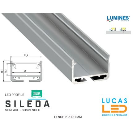"""LED Profile • SURFACE • ARCHITECTURAL • SUSPENDED • """"SILEDA"""" • SILVER • Aluminium • 2.02 Meters  lenght • PRO • multi set •"""