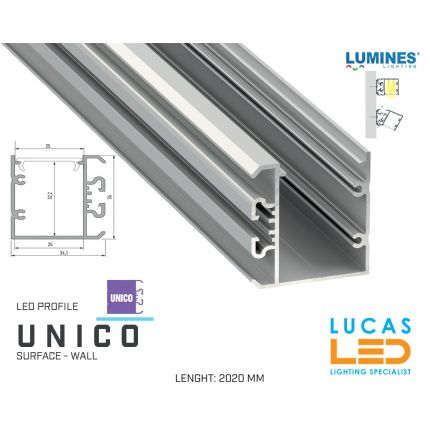 """LED Profile • SUSPENDED • ARCHITECTURAL • SURFACE • """"UNICO"""" • SILVER • Aluminium • 2.02 Meters  lenght • PRO • multi set •"""
