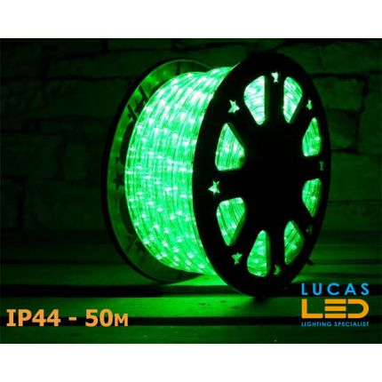 LED Rope Lights SET - 125W - 1800 LED - IP44 Waterproof - 50m Roll - GREEN Light + Connection Cable - outdoor and indoor