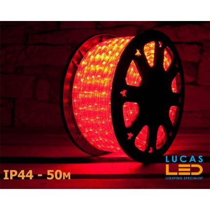 LED Rope Lights SET - 125W - 1800 LED - IP44 Waterproof - 50m Roll - RED Light + Connection Cable - outdoor and indoor