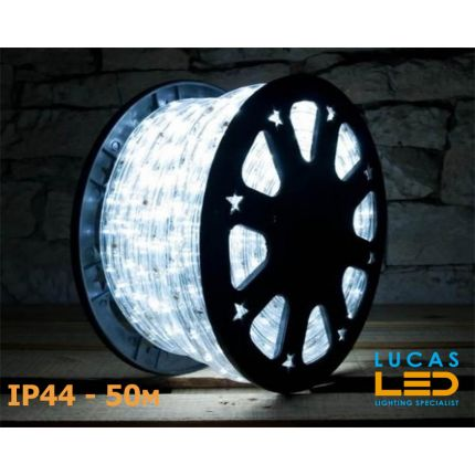 LED Rope Lights SET - 125W - 1800 LED - IP44 Waterproof - 50m Roll - COLD White Light + Connection Cable - outdoor and indoor