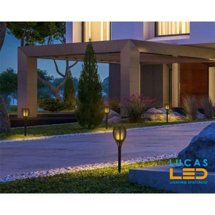 Solar LED garden luminaire lamp- 2W- waterproof IP44- 1.2V- DC- 20lm- 1600K - ground spike light with flame effect