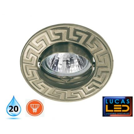 Recessed LED Spotlight - ceiling fitting - GU10 - IP20 - RODOS patinated brass