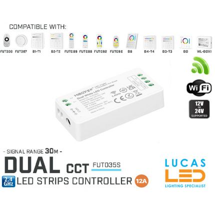 Dual CCT LED Strip Controller • MiLight FUT035s • 12-24 V DC • 12A Upgraded Version • Wifi • 2.4G
