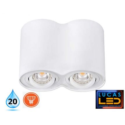 Surface LED Spotlight - Downlight Ceiling Fitting - 2xGU10 - IP20 - BORD White Matt