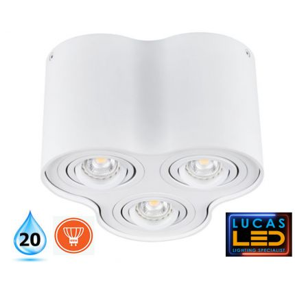 Surface LED Spotlight - Downlight Ceiling Fitting - 3xGu10  - IP20 - BORD White Matt