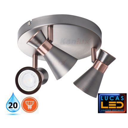 LED Ceiling surface Light- GU10- IP20- Decorative Home Lamp MILENO 3L- Silver&Cooper color