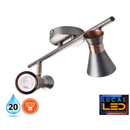 LED Ceiling surface Light- GU10- IP20- Decorative Home Lamp MILENO L2- Silver&Cooper color