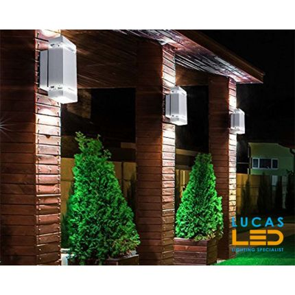 Outdoor LED Wall Light - GU10 - IP54 - ZEW Square  - Surface Facade Lamp - Up & Down Light - Grey colour