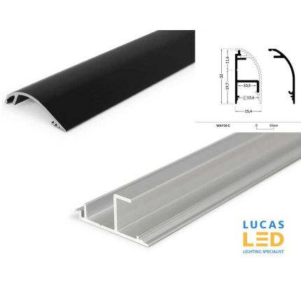 LED Special Application Profile UP Light - Wall & Ceiling mounted -  WAY10 BLACK , 2 meter with support profile