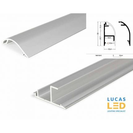 LED Special Application Profile - WAY10- SILVER - Up Light wall & ceiling mounted - 2 meter with support profile