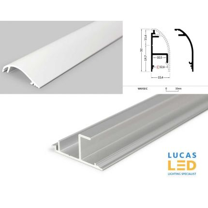 LED Special Application Profile , WAY10 -  WHITE , 2 meter with support profile