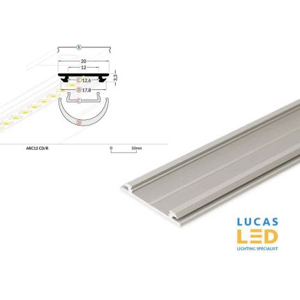 LED Special Application Arch Profile , ARC12, Silver , 2 meter
