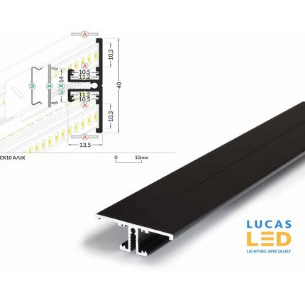 LED Special Application Profile , Back10 BLACK , 2 meter