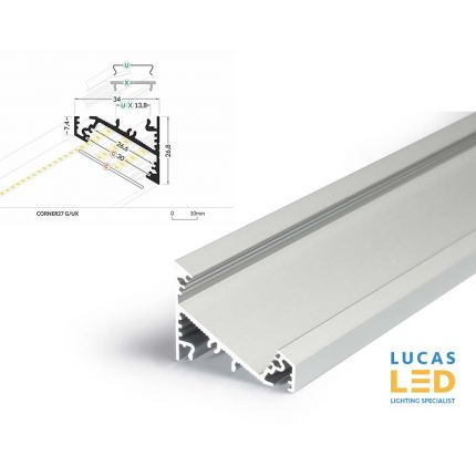 LED Corner Profile CORNER27  for furniture - Silver ,2 Meter Length