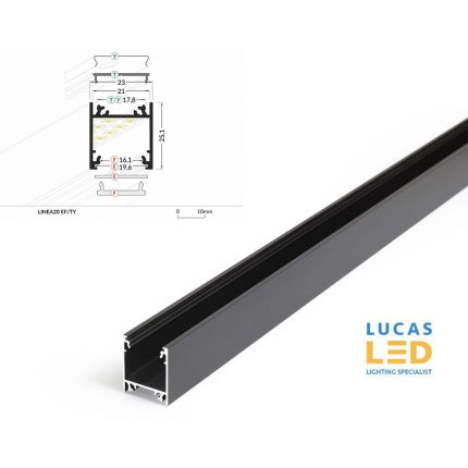 LED Surface Profile , Linea20 EF/TY, BLACK , 2 meter- Designed for Single & Dual LED Strips