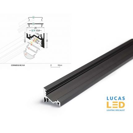 LED Corner Profile CORNER10 , BLACK ,2 Meter Length