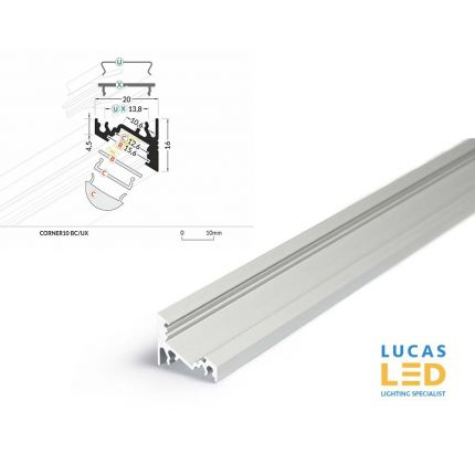 LED Corner Profile CORNER10 , Silver ,2 Meter Length