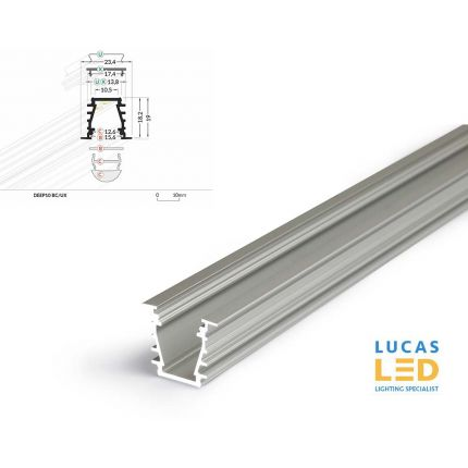 LED Recessed Profile DEEP10 , Silver ,2 Meter Length