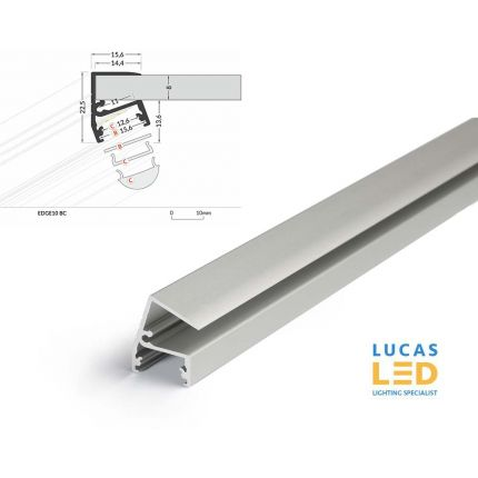 LED Glass Profile EDE10 , Silver ,2 Meter Length