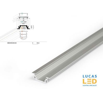 LED Recessed Profile , GROOVE10 , Silver, 2 meter